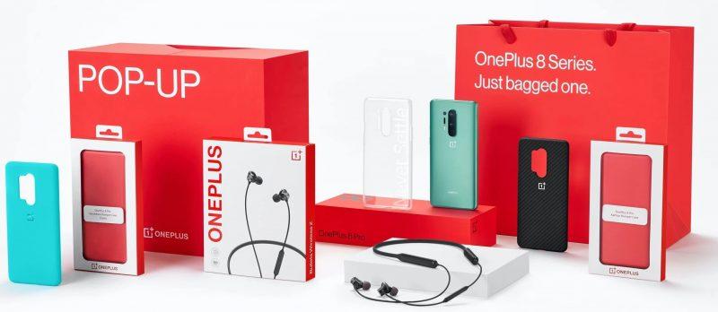 OnePlus 8 Pron pop-up-myyntipakkauksen sisältö.