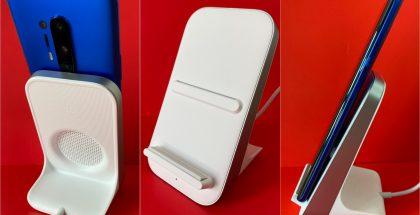 OnePlus Warp Charge 30 Wireless Chargerin kaapeli on kiinteästi asennettu sekä telineen että laturin päästä.