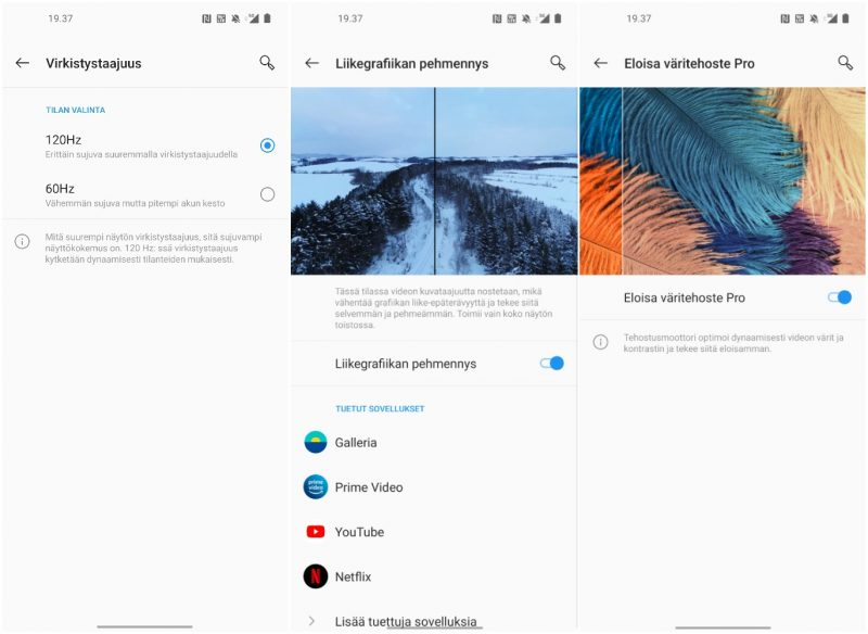 OnePlus 8 Pron näyttöasetuksia: virkistystaajuus, liikegrafiikan pehmennys ja väritehoste (HDR-muunnos).