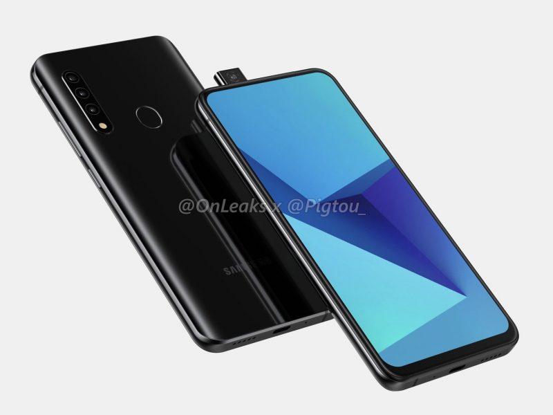 Uusi Samsung-älypuhelin pop-up-etukameralla. Kuva: OnLeaks / Pigtou.