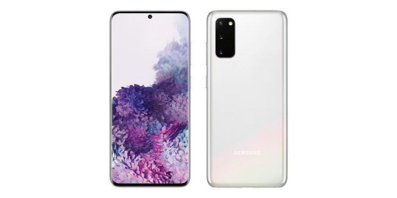 Valkoinen Samsung Galaxy S20. Kuva: Evan Blass.