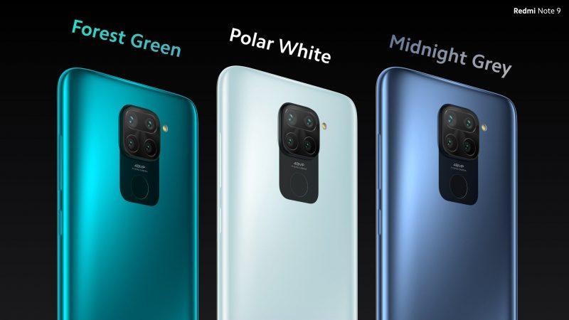 Redmi Note 9:n värivaihtoehdot.