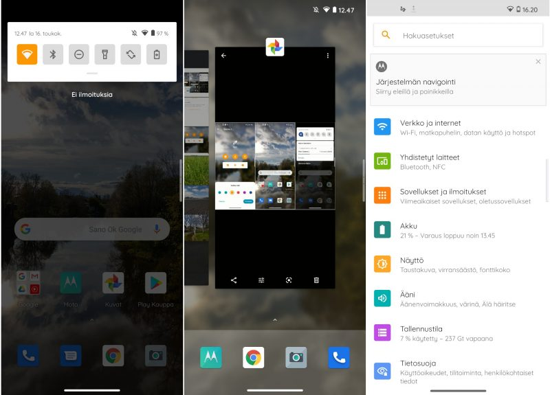 Kuvakaappauksia Motorola edge+:n My UX -käyttöliittymästä.