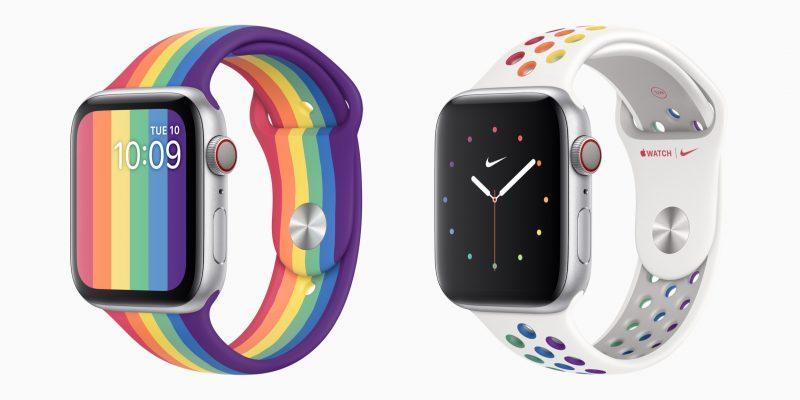 Apple Watchin uudet Pride-teemaiset rannekkeet (Sport Band ja Nike Sport Band).