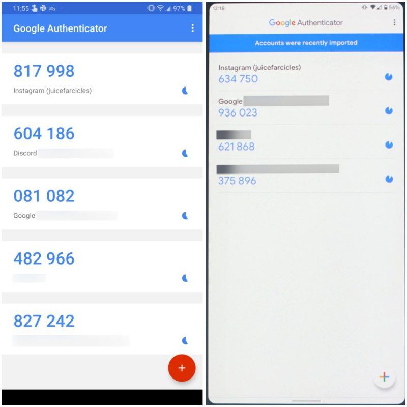 Google Authenticator, vasemmalla ennen ja oikealla jälkeen päivityksen. Kuva: Android Police.