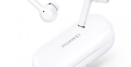Täyslangattomat Huawei FreeBuds 3i -kuulokkeet ja latauskotelo.