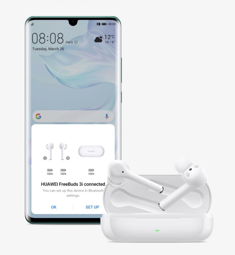 FreeBuds 3i -kuulokkeet tukevat helppoa parittamista EMUI 10:llä varustettujen Huawei-puhelinten kanssa.