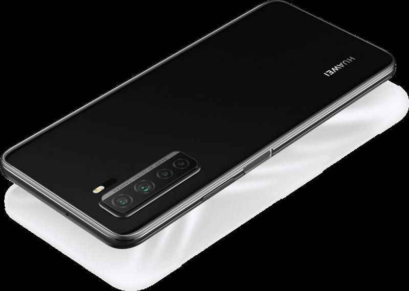 Huawei P40 lite 5G:n musta värivaihtoehto.