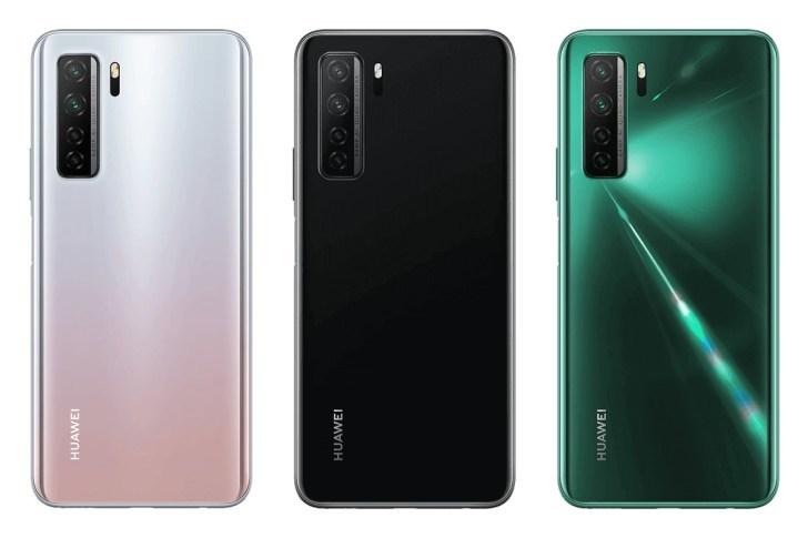 Huawei P40 lite 5G:n eri värivaihtoehdot.