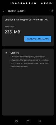 OxygenOS 10.5.9:n ainoa listattu uudistus on kuvaustilan poisto Kamerasta.