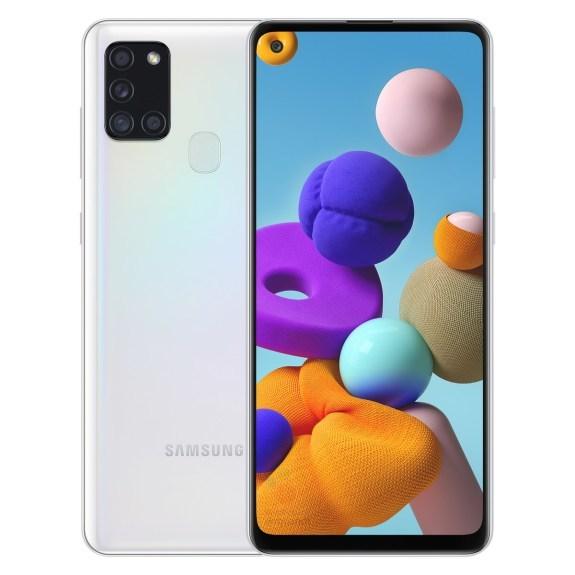 Samsung Galaxy A21s valkoisena.