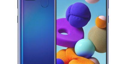 Samsung Galaxy A21s sinisenä.