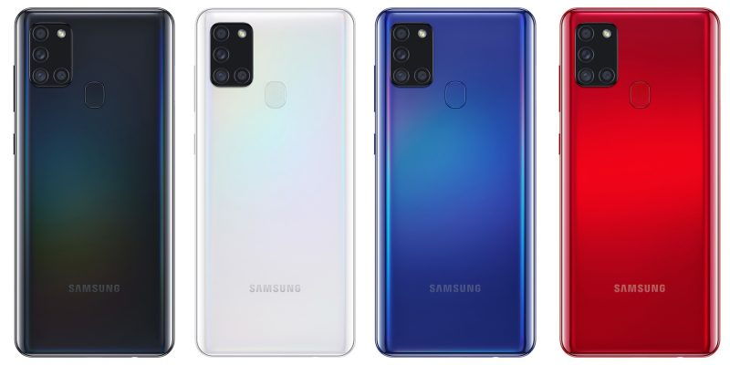 Samsung Galaxy A21s:n värivaihtoehdot.