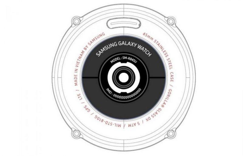 Kuva FCC-raportista uuden Samsung kellon pohjasta.