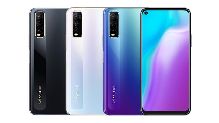 Ensimmäinen Exynos 880 -puhelin Vivo Y70s 5G eri väreissä.