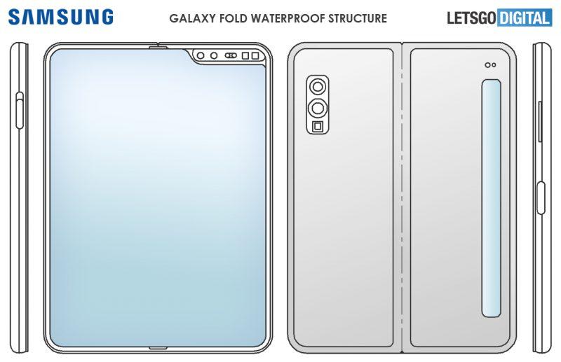 Samsungin patenttihakemus on tarjonnut mahdollisen vilauksen tulevasta edullisemmasta taittuvanäyttöisestä älypuhelimesta kapealla kansinäytöllä. Kuva: LetsGoDigital.