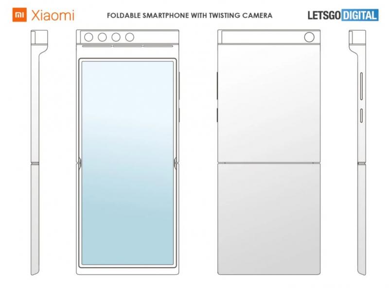 Xiaomin taittuvanäyttöinen älypuhelin patenttikuvissa.
