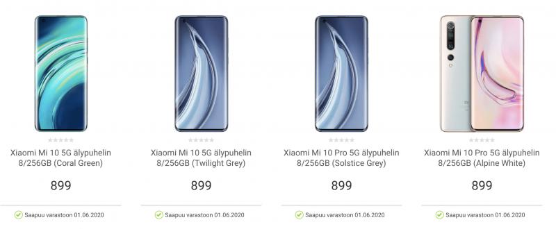 Xiaomi Mi 10 ja Mi 10 Pro listattuna Gigantin valikoimiin.