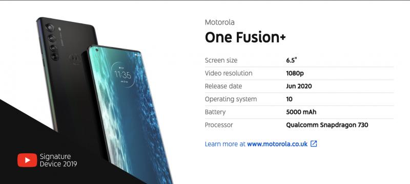 YouTube kertoi jo Motorolan uuden Fusion+ -älypuhelimen tiedot. Huom: Kuvassa näkyvä puhelin ei ole Fusion+, vaan Motorola edge.