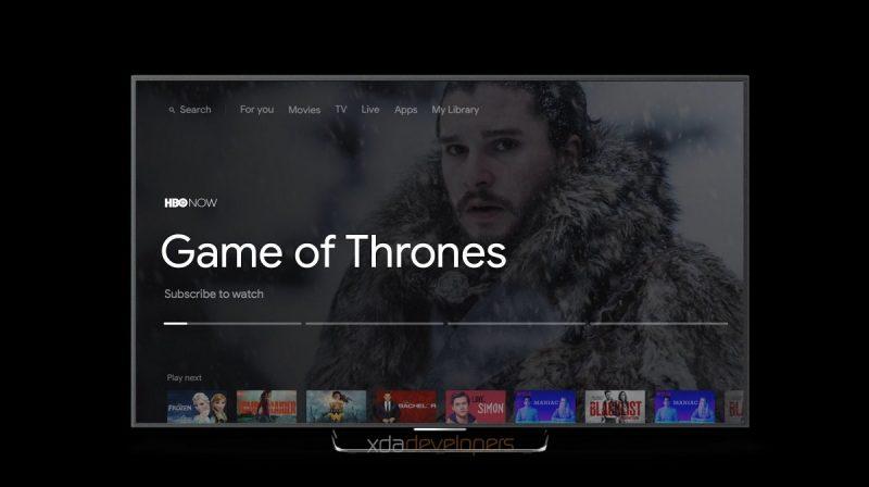 Android TV:n uusi käyttöliittymä. Kuva: XDA Developers.