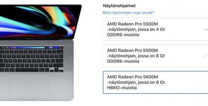 16 tuuman MacBook Prohon saa nyt huomattavasti tehokkaamman Radeon Pro 5600M -näytönohjaimen.