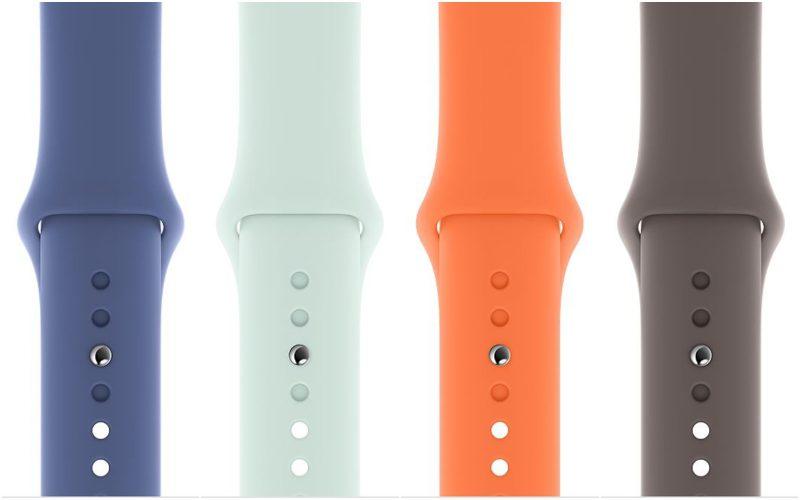 Uudet Apple Watchin urheilurannekkeen värit: pellavansininen, kuohunvärinen, C-vitamiininvärinen ja rantakallionharmaa.