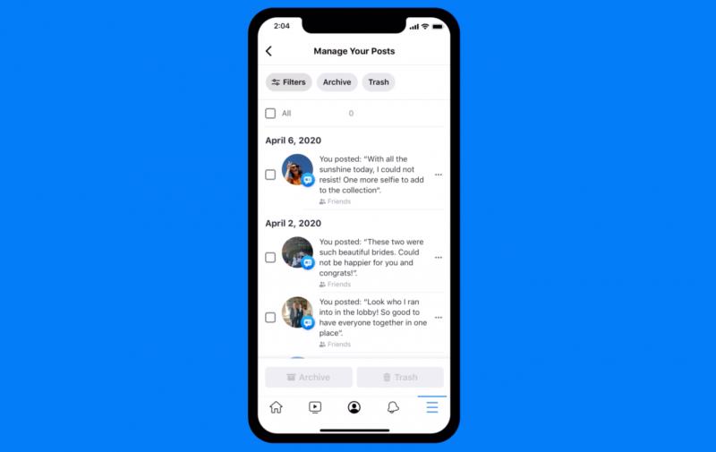 Facebookin uusi Manage Activity -toiminto.