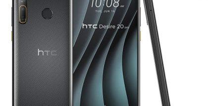 HTC Desire 20 Pro takaa, edestä ja sivulta.