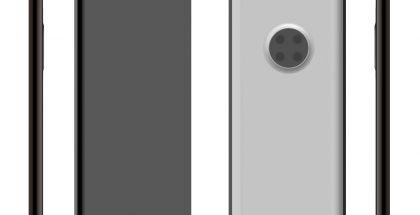 Huawei-älypuhelin näytönalaisella etukameralla LetsGoDigitalin patenttihakemuksen perusteella luomassa mallinnoskuvassa.