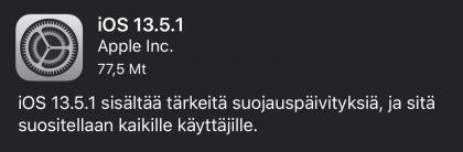 iOS 13.5.1 -päivityksen tiedot.