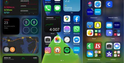 iOS 14:n uusi widget-näkymä, josta niitä voi siirtää myös kotinäkymään sovelluskuvakkeiden keskelle. Oikealla uusi Appikirjasto-sovellusvalikko.