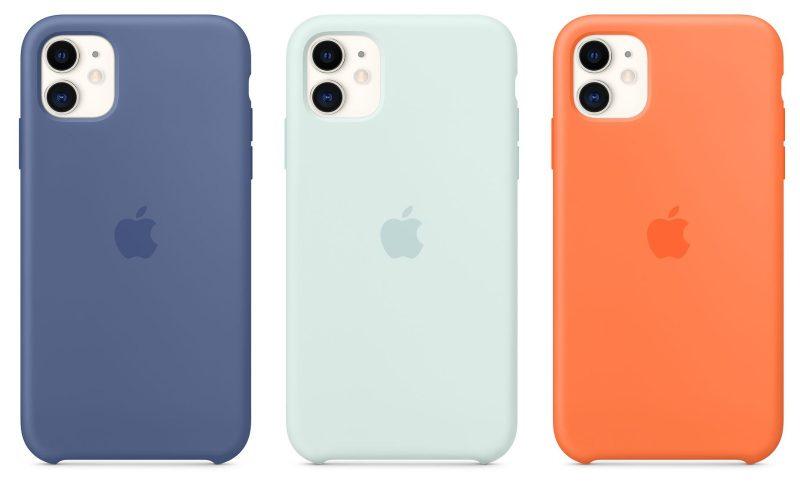 Uudet iPhone 11 / iPhone 11 Pro / iPhone 11 Pro Max -silikonikuorten värit: pellavansininen, kuohunvärinen ja C-vitamiininvärinen.