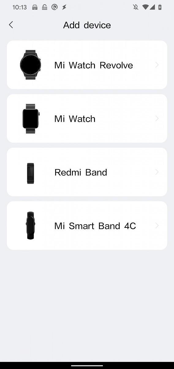 Mi Watch Revolve mainittu Mi Watch -sovelluksessa.