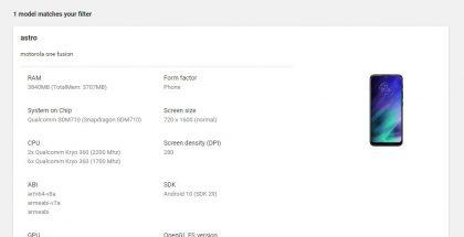 Motorola One Fusionin tiedot Google Play Consolessa.