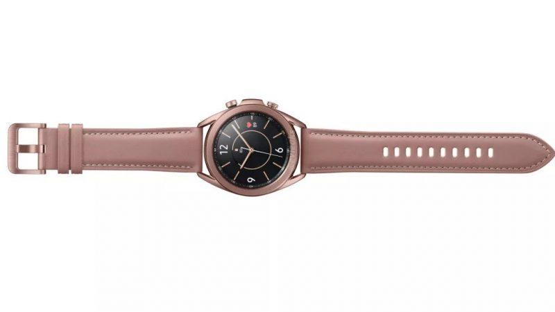 Samsung Galaxy Watch3 pronssiena värivaihtoehtona 41 millimetrin koossa. Kuva: evleaks / Evan Blass.