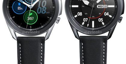 Samsung Galaxy Watch3 hopeana ja mustana värivaihtoehtona 45 millimetrin koossa. Kuva: evleaks / Evan Blass.