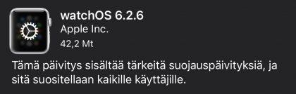 watchOS 6.2.6 -päivityksen tiedot.