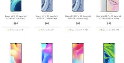 Xiaomi-älypuhelimia Gigantin valikoimissa.