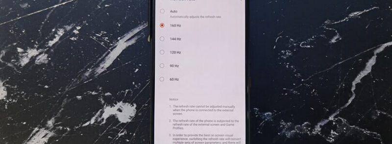 Asus ROG Phone 3 sisältää piilotetun 160 hertsin näyttöasetuksen.
