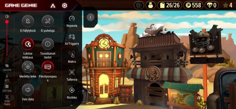 Game Genie -valikon saa avattua pyyhkäisemällä vaaka-asennossa näytön vasemmasta reunasta.
