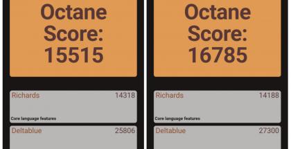 Vasemmalla 32- ja oikealla 64-bittisen Chrome-sovelluksen testitulos. 64-bittinen versio pärjää suorituskykytesteissä säännönmukaisesti paremmin. Kuva: Android Police.