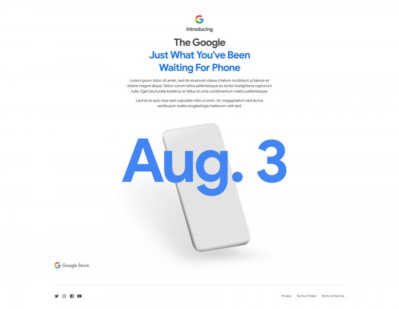 Googlen verkkokaupan ennakko Pixel 4a -julkistuksesta avattuna.