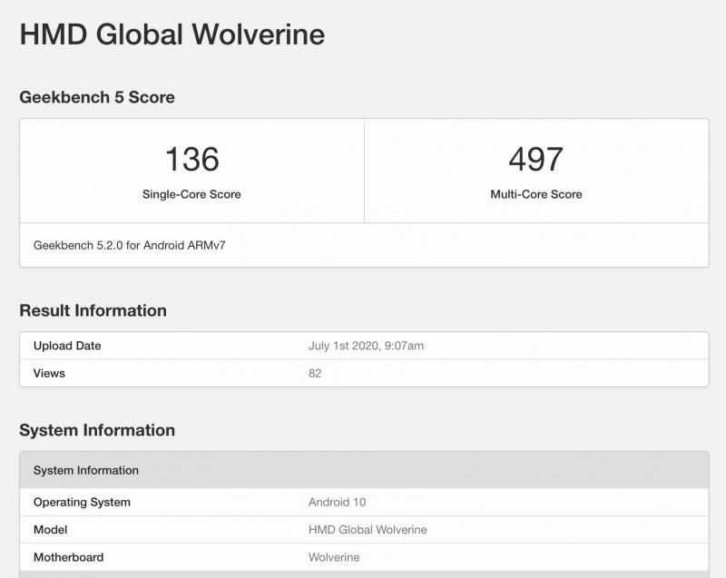 HMD Globalin Wolverine GeekBench-tietokannassa.