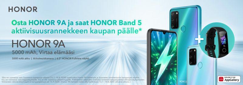 Honor 9A:n ostajille on tarjolla kaupan päälle Honor Band 5.