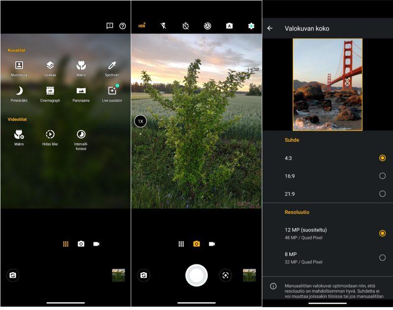 Kameran simppeli käyttöliittymä on Motorolaan mieltyneille tuttu.