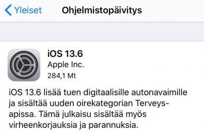 iOS 13.6 tuo muutamia uudistuksia.