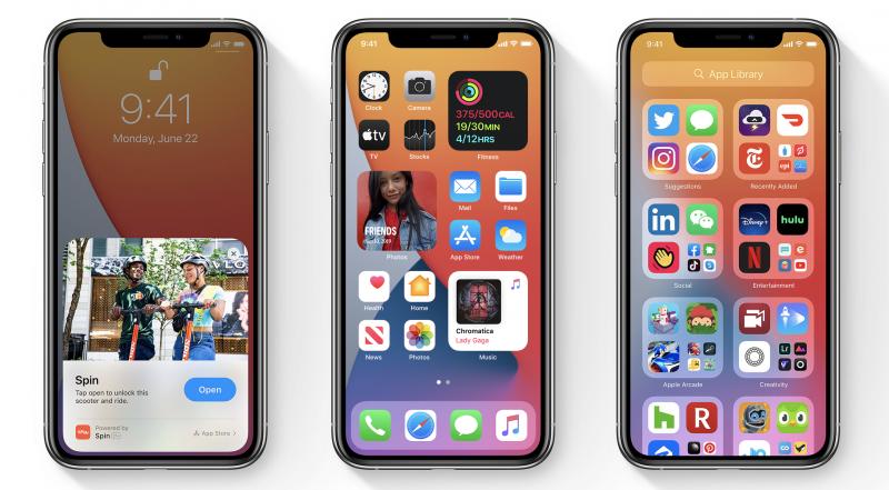 iOS 14:n uudistuksia ovat App Clips -kevtsovellukset, uudistettu kotinäkymä widgeteillä sekä Appikirjasto-sovellusvalikko.