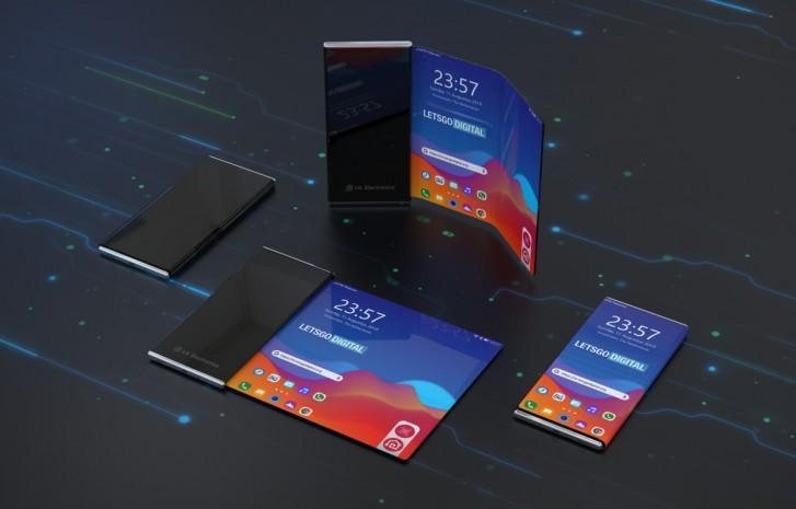LG:n rullattavan älypuhelimen patentin perusteella luotuja konseptirenderöintejä. Kuva: LetsGoDigital.