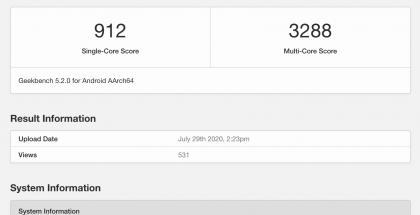 OnePlus KB2001 GeekBench-tietokannassa.
