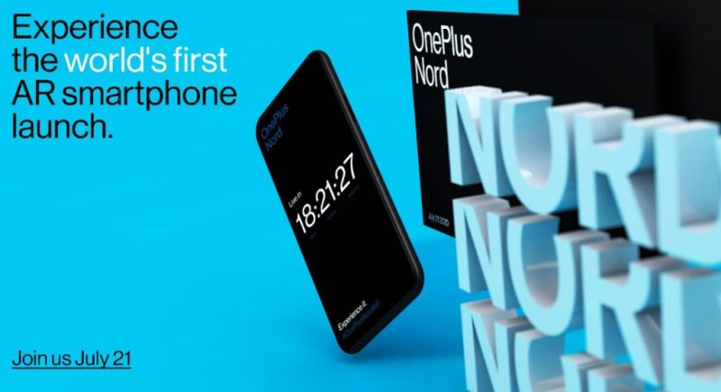 OnePlus Nord julkistetaan 21. heinäkuuta.